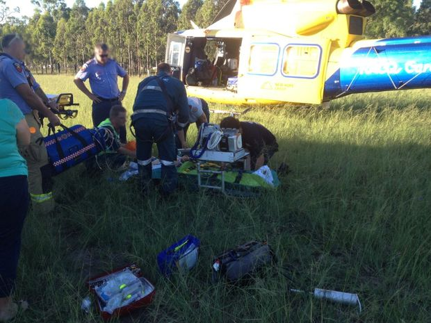 Teen airlifted to Brisbane in critical condition after motorbike incident.