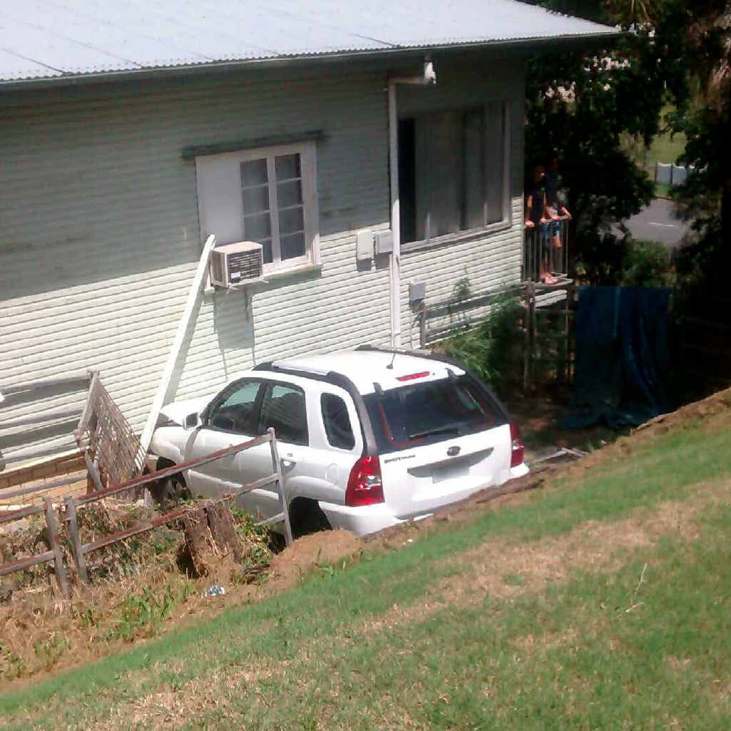 Reader John Naughton took this photo of a car that ran into a house.