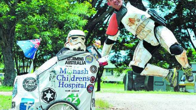 Scott Loxley, who jumped at the chance to walk around Australia dressed as a Star Wars stormtrooper to raise money for Monash Children's Hospital in Victoria, was happy to stop in Mackay yesterday.