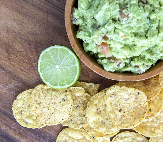 Guacamole and corn chips.