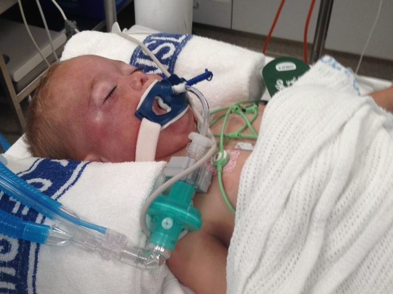 Iggy Stevenson is treated in Toowoomba Hospital after being accidentally runover by his father Andrew Stevenson in the driveway of a Harlaxton home.