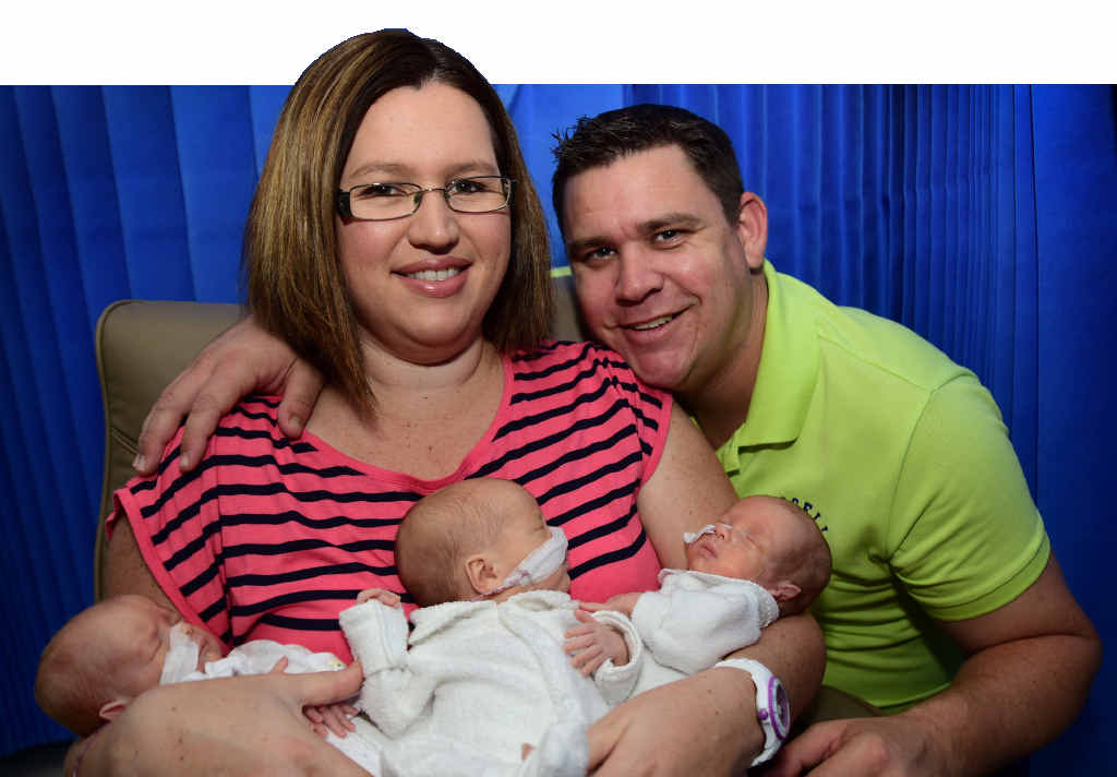 Parents Melody and Matthew Cullen of Little Mountain have welcomed triplets - (left) Noah, Joseph and William - to join siblings Jacob, 10, Sophie, 7, and Jasmine, 5, at Sunshine Coast Private Hospital, Buderim. Photo: Iain Curry / Sunshine Coast Daily