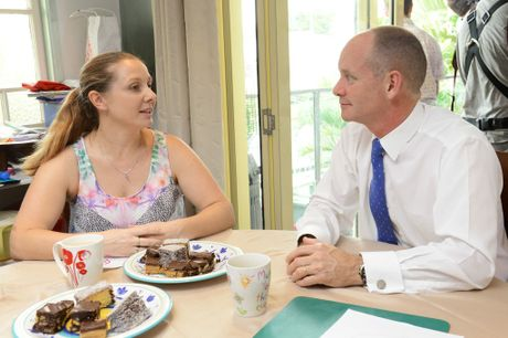 Premier Campbell Newman visited Hel na Woods at her home in Eastern Heights to announce plans to improve policing in Ipswich. Photo: David Nielsen / The Queensland Times