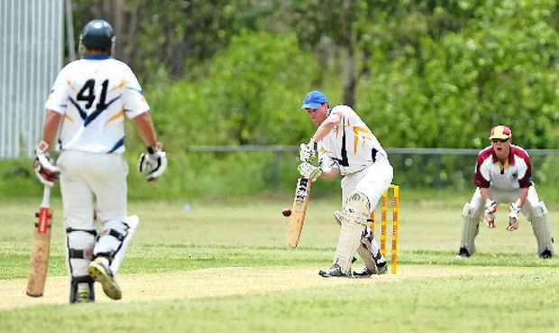 LOOKING GOOD: Mick Heymer is on his way to scoring a century during the Opens Gladstone v Central Highlands match at Sun Valley Oval.