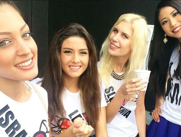 Miss Israel, Miss Lebanon, Miss Slovenia and Miss Japan. Photo taken from Instagram by Doron Matalon.