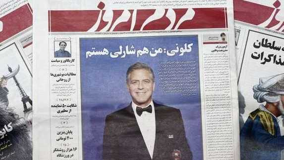George Clooney on the cover of a Iranian newspaper, shut down because he wore a bad supporting Charlie Hebdo