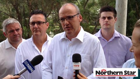 NSW Opposition Leader Luke Foley (centre).