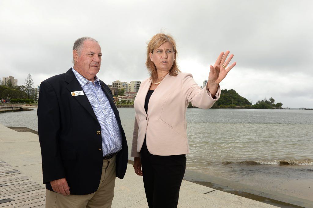 Dr John Griffin (Tweed Heads/Coolangatta RSL) and Justine Elliot at Jack Evans Boat harbour. Photo: John Gass / Tweed Daily News
