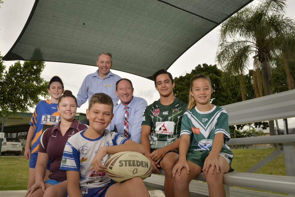 SPORTS CITY: MP Sean Choat and Sports Minister Steve Dickson Minister for National Parks, Recreation, Sport and Racing at North Ipswich Reserve with Benjamin Choat, 12, Teneil Rhea, 17, Tate Rhea, 12, Luke Peel, 16 and Kirra Peel, 10.