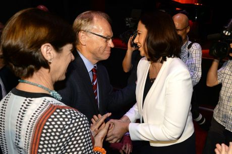 Annastacia Palaszczuk is congratulated by former Premier Peter Beattie after the state Labor Party launch held at the Ipswich Civic Centre on Tuesday. Photo: Rob Williams / The Queensland Times