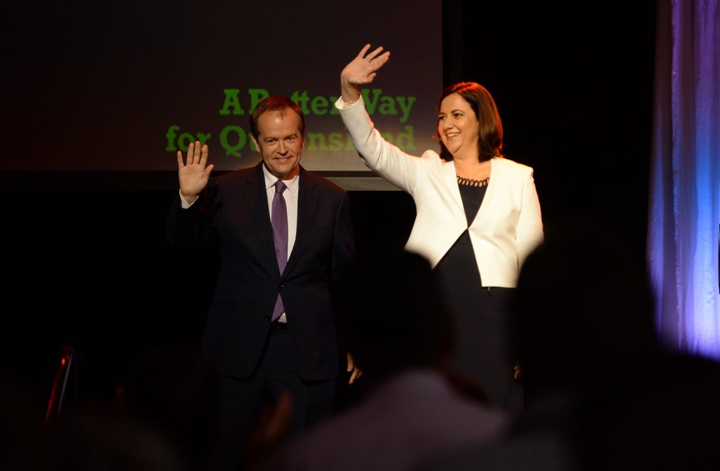 Queensland Opposition Leader Annastacia Palaszczuk with Federal counterpart Bill Shorten.