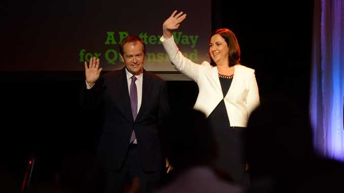 Likely Premier-to-be Annastacia Palaszczuk and Federal Opposition Leader Bill Shorten