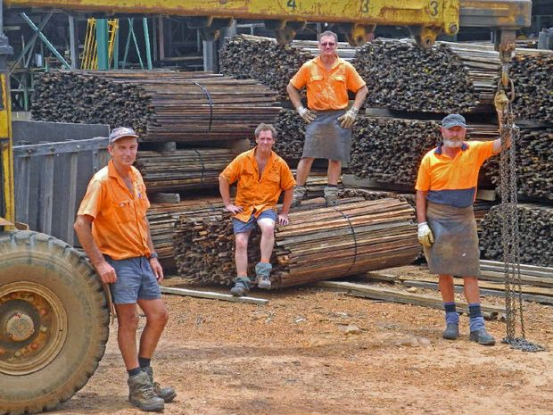 WORRYING TIME: The jobs of J Notaras and Sons employees including John McLachlan (left), Peter Harper, Peter Carbery and Perry Makings are under threat from the koala park plan, says Spiro Notaras. PHOTO: MARCO MAGASIC