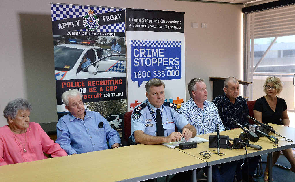 Marilyn Wallman's parents, Daphne and John Wallman, Queensland Assistant Commissioner Mike Condon, Marilyn's brothers Rex and David Wallman, and sister Lenore Flynn at the press conference to confirm that skull fragments found in 1974 are those of Marilyn.