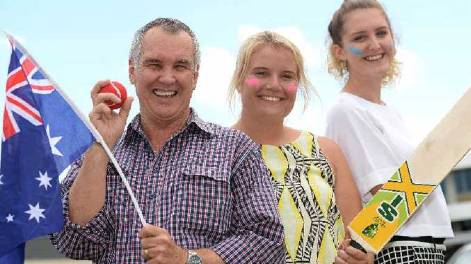 Trying out the cricket equipment that is part of the Great Aussie Day BBQ Set prize are (from left) Daily Mercury journalist Alan Quinney, promotions and marketing co-ordinator Lauren Alsemgeest and intern Katie Norbury.