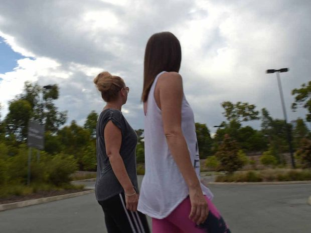 CROWD-STOPPER: Nadine Hoffman and Vickie Hall were stunned at seeing a strange light in the sky over Peregian Springs.