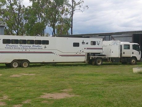 This truck and gooseneck trailer were stolen from a property near Millmerran.