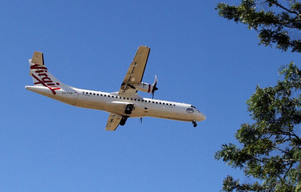 INCOMIN AIRLINE: Virgin Australia starts flying over the city of Bundaberg. Photo: Paul Donaldson / NewsMail