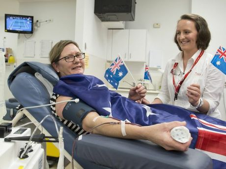 Anne Ryan donates at the Toowoomba donation centre of Australian Red Cross Bood Service with nurse Leanne Szulik.