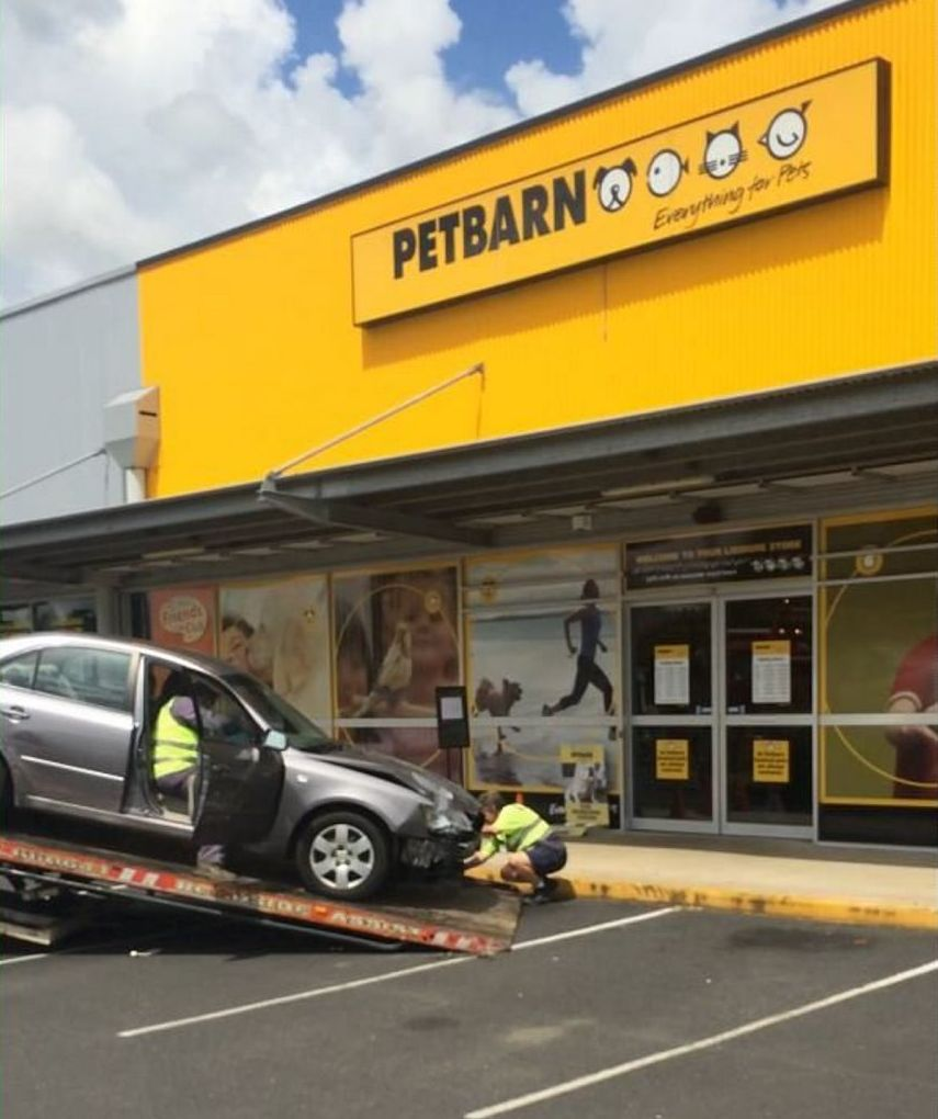 A car crashed into the storefront of Petbarn at Lismore Shopping Square this morning.