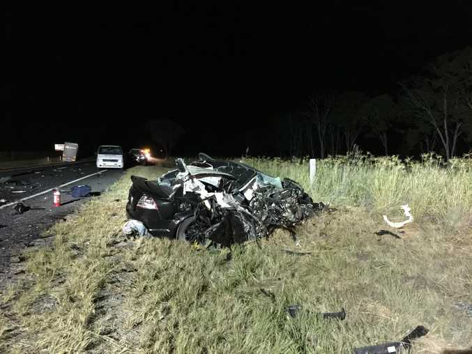 An 18-year-old Warwick man was killed when the Holden Commodore he was driving and a B Double truck collided on the Cunningham Hwy about 9km from Warwick. Photo Contributed