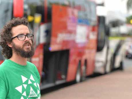 Jonathon Dykyj talking about the need for a new bus shelter in Mackay.