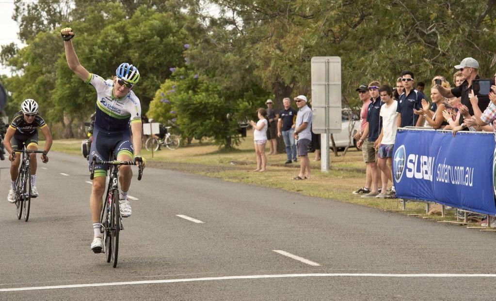 Luke Durbridge claims cross the finishing line at Goombungee to win last year's Oceania Championship.