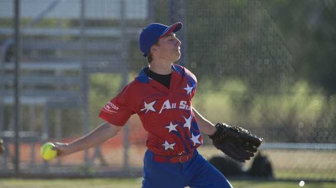 WOUND UP: Jarrod Russell pitches for Aces/All Stars in Toowoomba Softball mens A grade.