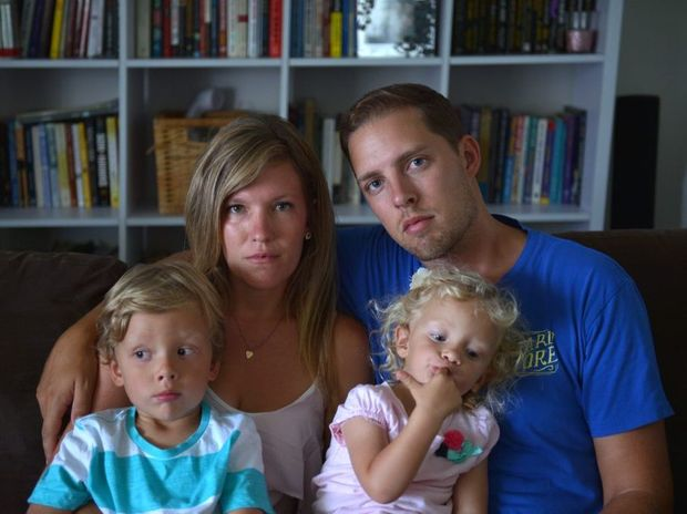 Bryan and Tiffany Hunsberger and their children Cooper, 4 and Taylyn, 2 face deportation by the immigration department.