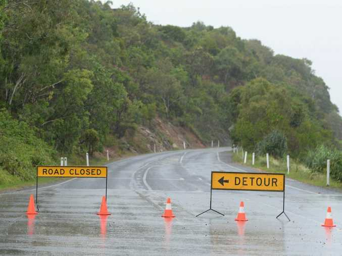 The Scenic Highway at Statue Bay was closed and traffic diverted by Livingstone Council as heavy rains lashed Yeppoon and the Capricorn Coast. Photo: Chris Ison / The Morning Bulletin