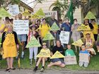 Protesters gather outside the Maryborough Courthouse to voice their opposition to the proposed Colton Mine at Aldershot.