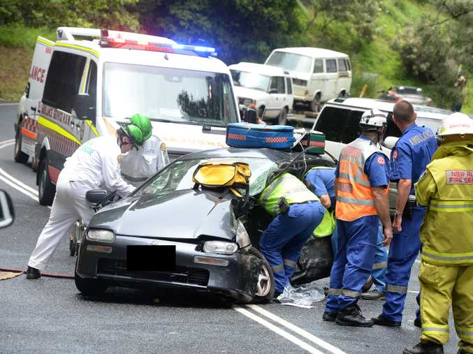 A FATALITY has been confirmed at a Uki car crash today on Kyogle Road. Photo: John Gass.