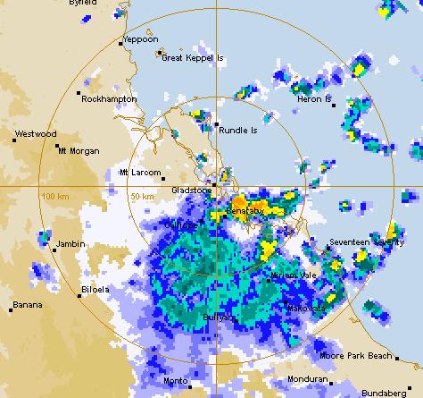 The weather radar shows plenty of rain over the Gladstone region at 6.15am on Thursday.