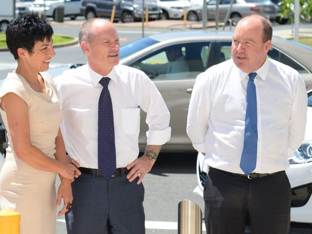 Premier Campbell Newman and his wife Lisa outside Rockhampton Hospital with Member for Keppel Bruce Young. Photo: Chris Ison / The Morning Bulletin