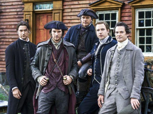 Ryan Eggold, Ben Barnes, Michael Raymond-James, Rafe Spall and Henry Thomas in Sons of Liberty.