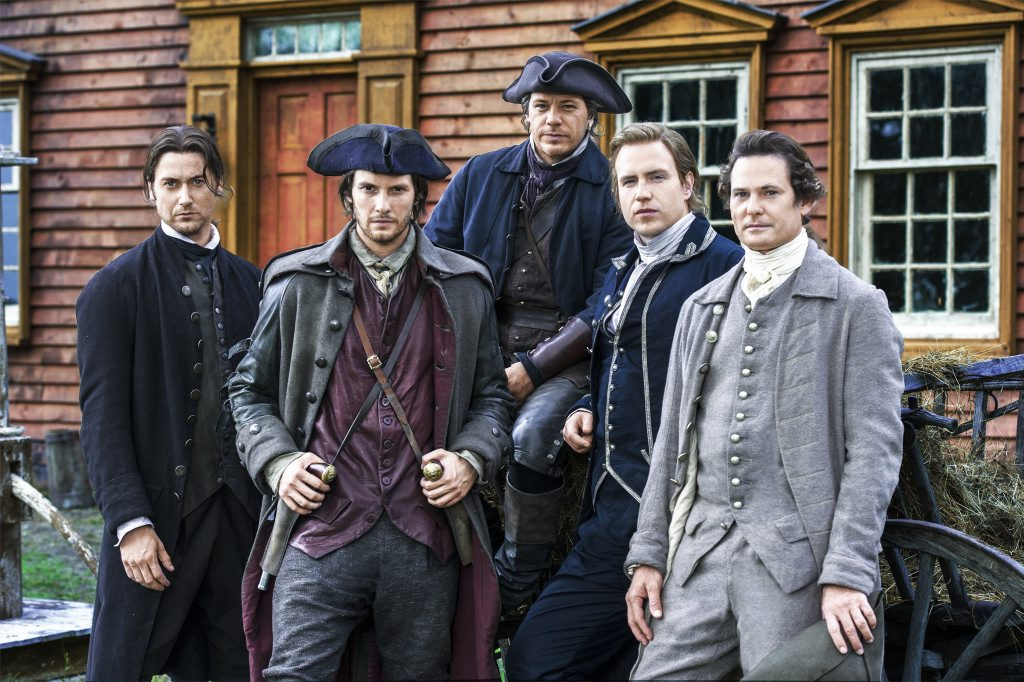 Ryan Eggold, Ben Barnes, Michael Raymond-James, Rafe Spall and Henry Thomas in Sons of Liberty.
