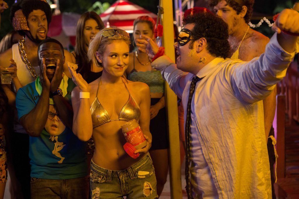 Nicky Whelan and Josh Gad in The Wedding Ringer.