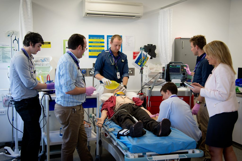 Fourth-year medical student Ben Steiger bags a manikin during a clinical training exercise as part of his training at UQ Rural Clinical School.
