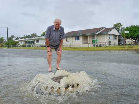 Barney Point resident Ron Holt is angry that nothing has been done about flooding in his street.
