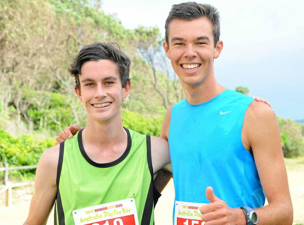 GREAT RESULT: Luke Tarrant and Matt Berrington ran the quinella in the HQB Australia Day Fun Run at Park Beach last year. Leigh Jensen