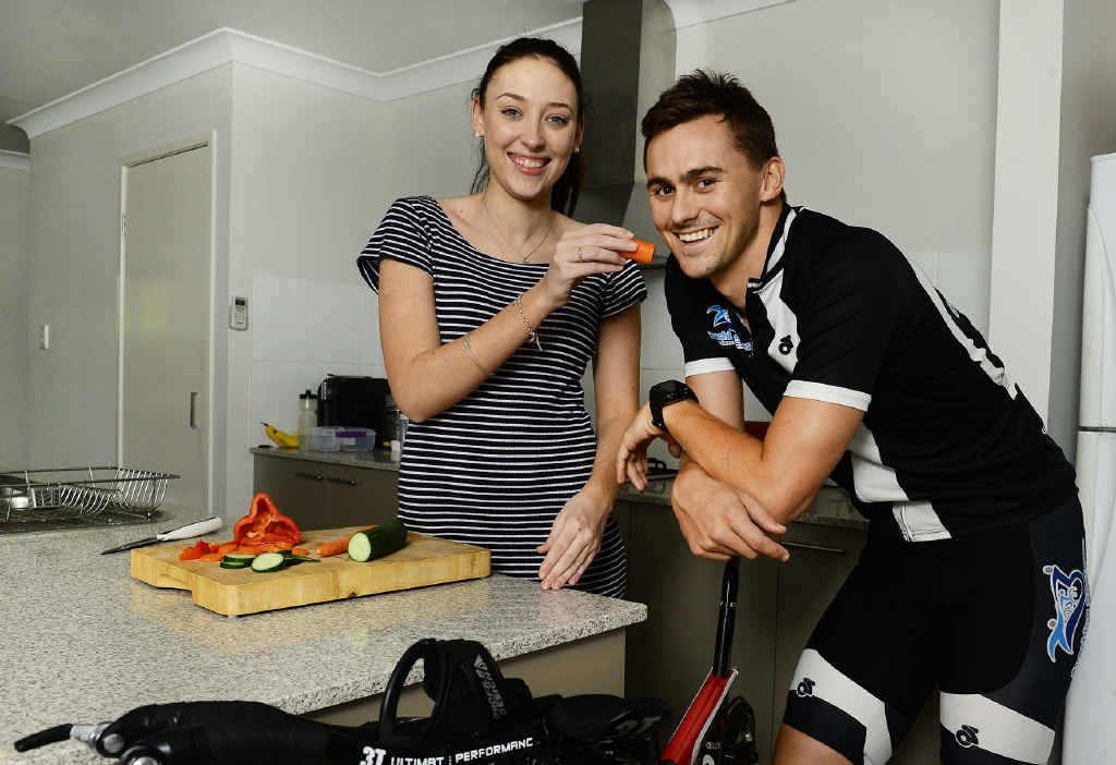 IRON INTAKE: Jarrod Harvey and partner Bree Hamilton make a formidable team in Harvey's bid to become a professional ironman triathlete.