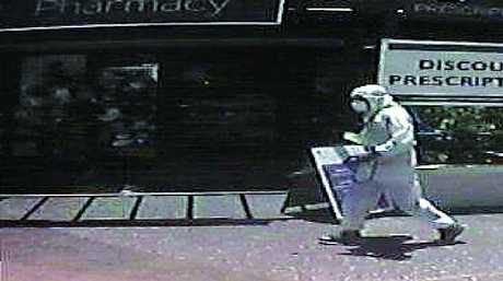 EVIDENCE: The knife used by the bandit and a CCTV image of the man outside the pharmacy, wearing a hazmat suit.