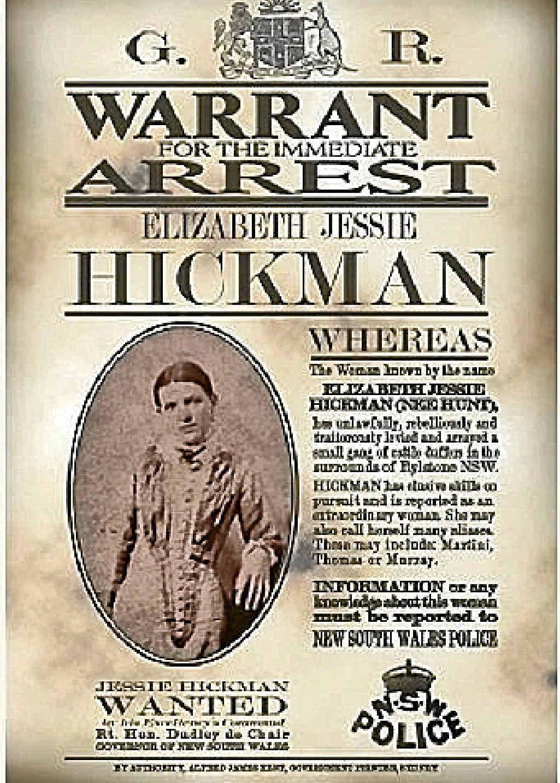 Pat Studdy-Clift's book, a wanted poster and bushranger Elizabeth Jessie Hickman.
