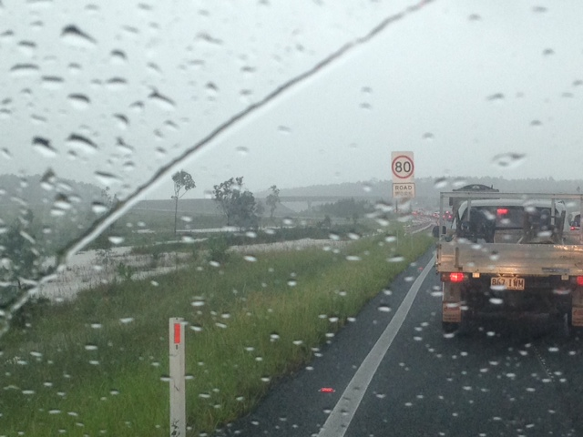 Traffic is slow on the Bruce Highway today due to heavy rain.