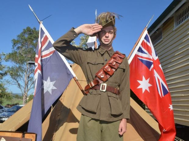Jason Amit salutes in his Light Horse uniform at Laidley's Pioneer Village Australia Day celebrations in 2014. The Light Horse will be back again this year.