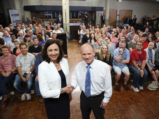 Queensland Premier Campbell Newman and Opposition Leader Annastacia Palaszczuk during the first leaders' debate of the Queensland State Election. Friday, Jan. 23, 2015.