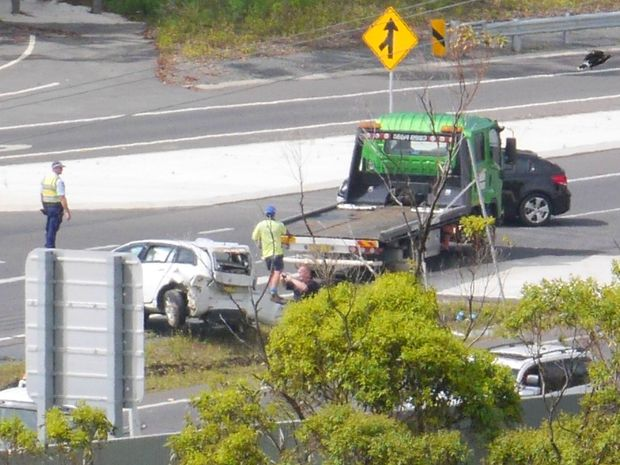 A woman and her six-year-old passenger have been taken to hospital in Coffs Harbour following this multiple vehicle incident north of the city.