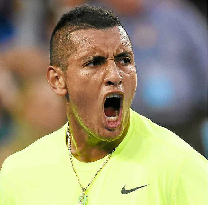 INTO THE LAST 16: Nick Kyrgios is fired up after beating Tunisia's Malek Jaziri 6-3 7-6 (8-6) 6-2 on Friday in their third round clash at the Australian Open.