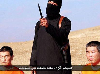 A jihadi threatens Kenji Goto Jogo and Haruna Yukawa in a video Isis released earlier this week.