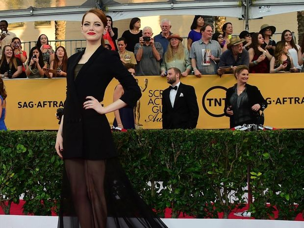 Actress Emma Stone arrives for the 21st Annual Screen Actors Guild Awards in Los Angeles.